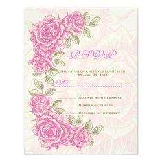 Vintage pink roses wedding RSVP response card