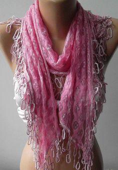 Pink Lace and Elegance Shawl --- Scarf - with Lace Edge,,,.