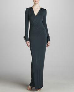 Long-Sleeve Sculpted Jersey Dress, Oilslick by Donna Karan at Neiman Marcus.