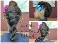 #61. Twist'n'Bun Protective Hairstyle (Kid Friendly)