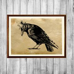 Nice crow poster. Bird print on handmade old paper. Lovely antique looking cabin decor. SIZE: 8.3 x 11.7 (A4) Paper for each print is individually hand