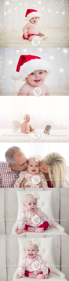 Little angel I's 6 month and holiday family session with santa hat and angel wings!