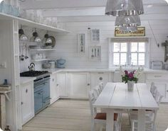 White kitchen - Love this! We have Ship lap walls under the wallpaper/drywall, I love this look!
