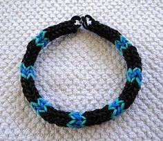 Rainbow Loom Blue Bargello Herringbone Rope Rubberband Bracelet pattern