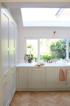 Renovation Complete: The Reveal of Our Green Pink and Gold Kitchen - Swoon Worthy Gold Kitchen, Kitchen Decor, Diy Kitchen, Kitchen Interior, Kitchen Ideas, Farrow And Ball Kitchen, Kitchen Chandelier, Home Decor Trends, Beautiful Kitchens