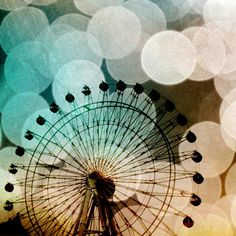 Pastel bokeh blue ferris wheel metallic fine by SylviaCPhotography, $13.00
