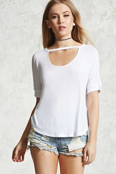 A semi-sheer micro-ribbed tee featuring a round neckline, front geo cutout, short dolman sleeves, and a dolphin hem. Cut Out Top, Fashion Beauty, Fashion Tips, Fashion Lookbook, Summer Outfits, Summer Clothes, Latest Trends, Forever 21, Tees