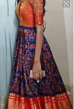 Ikkat pattu/silk anarkali in Orange n blue Salwar Designs, Blouse Designs, Dress Designs, Lehenga, Anarkali Dress, Indian Attire, Indian Outfits, Long Gown Dress, Long Frock