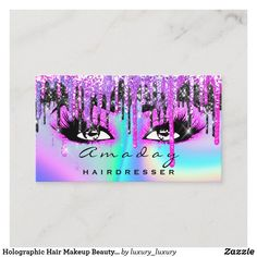 Holographic Hair Makeup Beauty Salon Hot Pink Business Card
