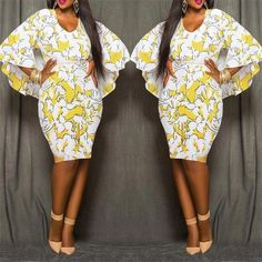 Yellow Floral African Tribal Print Chiffon Cape Cloak Bodycon Plus Size Club Party Skinny Pencil Midi Dress African Fashion Designers, African Inspired Fashion, African Print Fashion, Africa Fashion, African Attire, African Wear, African Dress, African Style, African Print Dress Designs