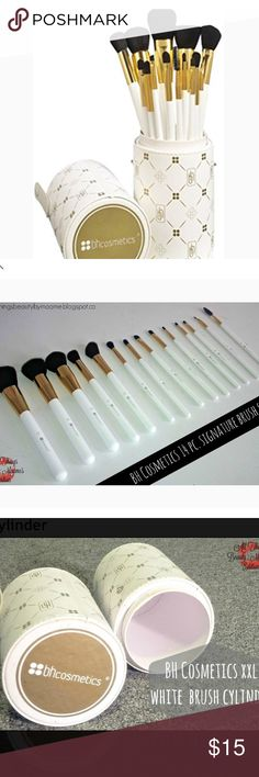 BH Cosmetics 14 Piece BH Signature Brush Set Like new condition.Classy and chic, this 14 piece brush set is big on style and sophistication. This gorgeous cruelty free set features super soft synthetic hair and a wonderful variety of both eye and face brushes. Long glossy white and gold handles sit perfectly inside the XL size white brush cylinder that boasts our signature BH Cosmetics pattern in gold and snaps tightly to travel or store on your countertop or vanity. The set came with a…