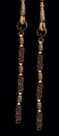 Leland Hensley 2008 Gear ~ TCAA - The rein chains are a collaborative effort with Wilson Capron who fabricated filigreed and engraved steel scrolls having a plum brown patina. These elements alternate with braided knots to complete the chain.
