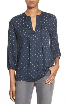 Caslon® Pintuck Pleat Blouse in grey spring mix print (click to view) #Nordstrom