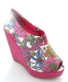 Take a look at this Fuchsia Canarie Peep-Toe Bootie by GC Shoes on #zulily today!