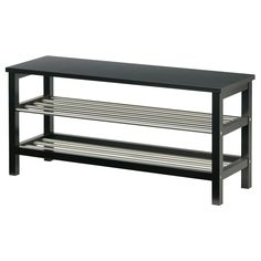 While I wish this IKEA bench was not black and chrome, it is exactly the right size for my mudroom area.