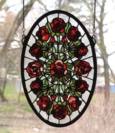 fc6c370285ac Meyda Tiffany Tiffany Nouveau Oval Rose Garden Stained Glass Window 66005  Features  Glass window Burgundy roses with willow green leaves radiate  around a ...