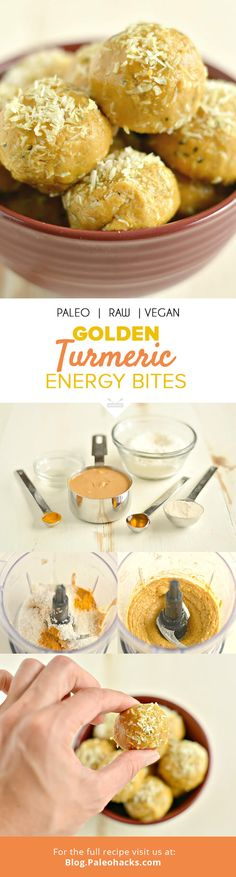 These anti-inflammatory Golden Turmeric Energy Bites pack a delicious boost of protein and superfood nutrition! For the full recipe, visit us here: http://paleo.co/turmenergybites