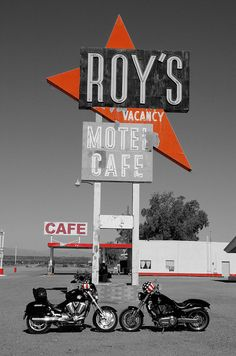 Route 66, Amboy, California.  Roy's Black and White-66 by Neil Kremer