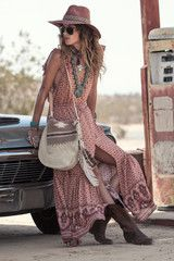 Erin Wasson wears Spell Designs Sunset Road Frill Maxi Dress