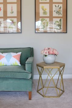 @jennykomenda pairs our Threshold hexagon table with a decorative Aztec pillow from Room Essentials, giving this living room a vintage yet modern vibe. http://littlegreennotebook.blogspot.com/2015/07/before-and-after-alis-entry.html