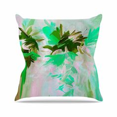 "Ebi Emporium ""Deconstructing the Garden 5"" Green Olive Outdoor Throw Pillow from KESS InHouse"
