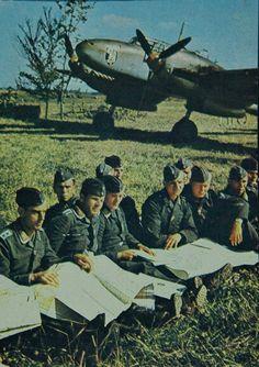 Briefing at Guyancourt in France 1.July 1940 Me 110 C ZG 2 (A2+AL) ZG 52