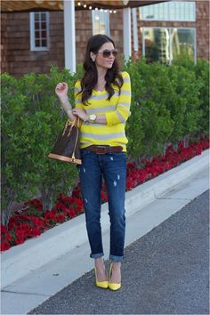 Love minus the yellow heels - just can't do yellow heels.
