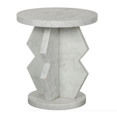 white marble side table with round top and base and angular shape 20DIA x 23H