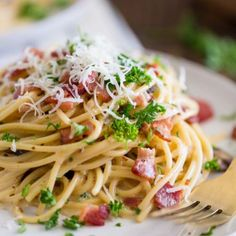 Have you ever had Spaghetti Carbonara? You might know it by one of its aliases: Pasta Carbonara, Spaghetti a la Carbonara or Alla Carbonara. I recently made it for the first time and I only Pasta Carbonara, Creamy Bacon Carbonara, Bacon Pasta Recipes, Healthy Pasta Recipes, Pate Spaghetti, Best Spaghetti Squash Recipes, Slow Cooker Spaghetti, Supper Recipes, Supper Meals