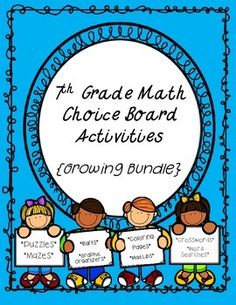 Give your students a choice on how they show mastery of a skill with the 7th Grade Math Choice Board Activities {Growing Bundle}.Choice boards offer a variety of options to meet the needs of all students with different learning styles. They are also great to use as math center/station rotations.