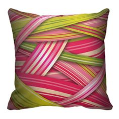 Pink Leaf Flowing Ribbons Throw Pillows