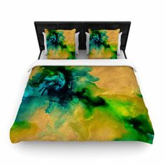 """Claire Day """"Glamorous"""" Gold Green Abstract Painting Woven Duvet Cover - KESS InHouse  - 1"""