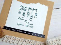 Love mason jar lights? This custom wedding stamp is too cute! #masonjars #diywedding #stamp