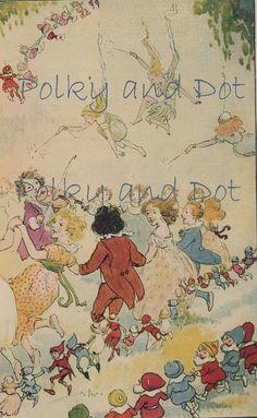Wonderful vintage dancing with fairies illustration digital download