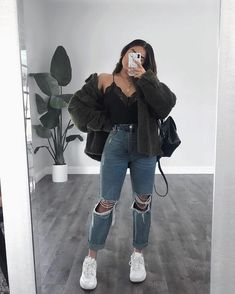 Trendy Fall Outfits, Cute Comfy Outfits, Casual Winter Outfits, Edgy Outfits, Winter Fashion Outfits, Retro Outfits, Look Fashion, Cool Outfits, Women's Fashion
