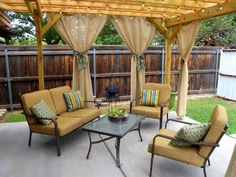 """DIY Outdoor Curtains from Burlap."" Idea for our pergola. Patio Pergola, Pergola Curtains, Outdoor Curtains, Burlap Curtains, Pergola Ideas, Patio Ideas, Outdoor Privacy, Small Pergola, Pergola Shade"