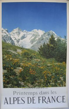 A French travel poster, featuring the seren view of the Alpine mountains.