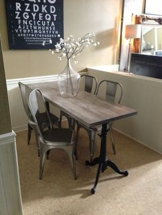 Narrow dining table for narrow space. Industrial chic, drafting table base, made by Jen Widner, diy restoration hardware, metal chairs, faux weathered wood, pine panel, Annie sloan chalk paint, old white, minwax Jacobean. Instagram @Jenn L Gonzales #jenwidner www.SpaceNumberSixteen.blogspot.com by deidre
