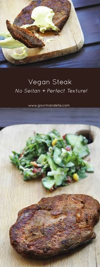 If you crave a delicious, healthy, gluten-free vegan steak, this is the recipe you'll want to make! It has a great texture and delicious barbecue steak taste! Recipe here: http://gourmandelle.com/vegan-steak-no-seitan-perfect-textur