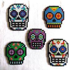 Sugar Skull Magnets Day of the Dead Decor Dia de by CherryPicks Hama Beads Design, Hama Beads Patterns, Beading Patterns, Pearler Beads, Fuse Beads, Hama Beads Kawaii, Cross Stitch Skull, Melting Beads, Mexican Skulls