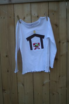 Girl's Nativity appliqued longsleeved Monag by Just4Keeps2 on Etsy, $13.00