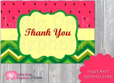 Watermelon birthday party Thank you card by LittlePinkElephant03, $5.00