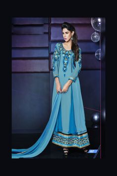 Buy Online Khantil Semi Stitched Layered Classic Blue Floor Length Anarkali Suits at Best Price in India