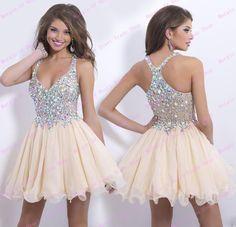 Elegant V Neck A Line Short Prom Dresses 2015 vestidos de festa Open Back Champagne Beading Party Gowns