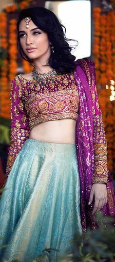 Pink and blue lehenga. Bridal designer lehenga. Bridal fashion.