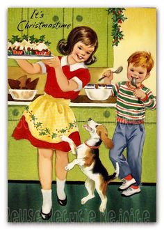 Vintage Christmas Card - Dog Girl Boy
