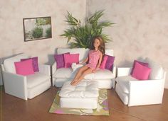 Barbie Doll Furniture Living Room Set White by BarbieDollFurniture, $24.95