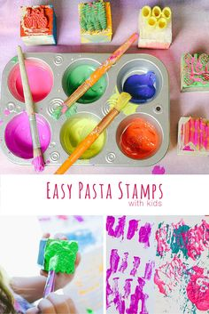 How To Make Fun and Easy DIY Pasta Stamps. Great for kid's art!! Such a fun activity!
