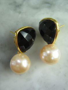 Ohrstecker - TOM K Onyx Ohrstecker Gold Perle Luxus Geschenk - ein Designerstück von TOMKJustbe bei DaWanda