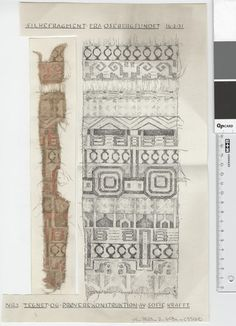 Oseberg Findings from folder 'Oseberg, textiles - silk': Silk Fabric 1, fragment 2 Drawn by Sofie Krafft: a / ink drawing ('trying construction') and b / watercolor ('character') and cut out. Measure A / B: 20 cm, H: 34 cm, b / B: 5 cm, H: 27.5 cm.